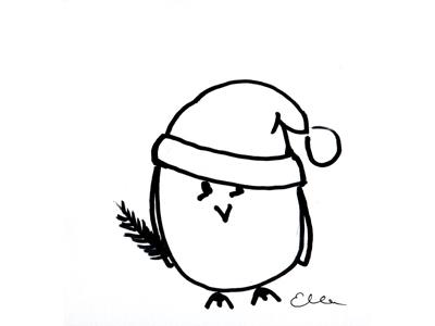 Weihnachts-Eule, Zeichnung von Elisabeth Wittnebel