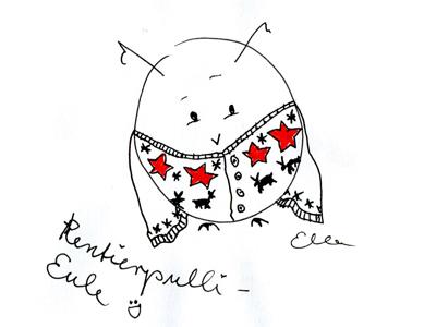 Rentierpulli-Eule, Zeichnung von Elisabeth Wittnebel
