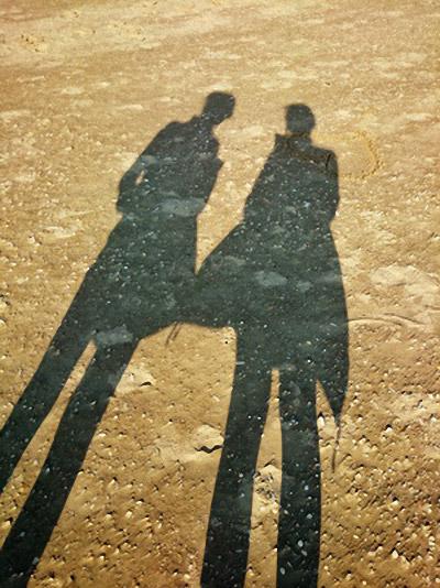 Zwei Schatten unterhalten sich