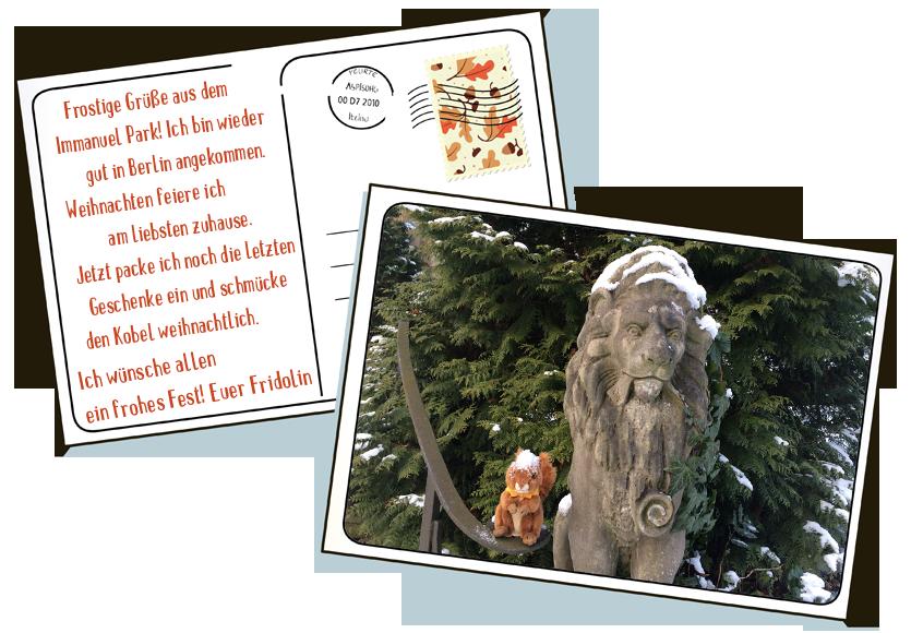 Fridolin das Maskottchen der Immanuel Diakonie wünscht Frohe Weihnachten